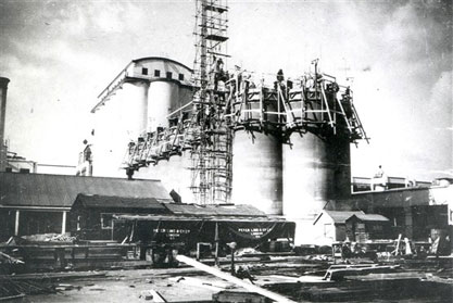 Second phase of silo construction at The Shredded Wheat factory in Welwyn Garden City 1935. The first phase constructed in 1926 can be seen in the background.